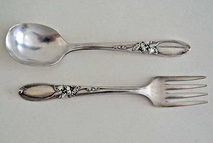 Amazon Com Vintage Community Oneida White Orchid Silverplate Baby Fork Spoon Set Flatware Sets
