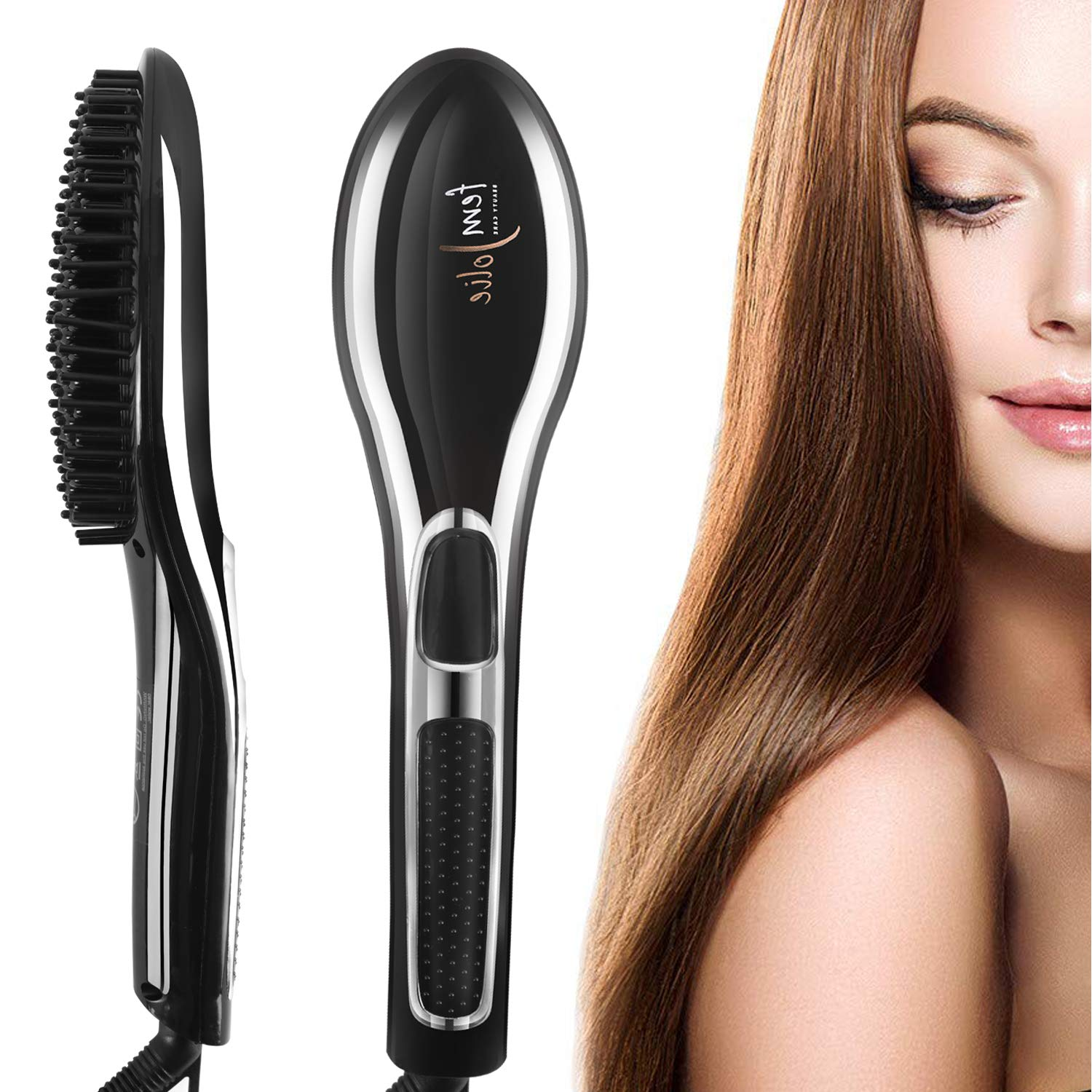 Pretafarver Hair Straightening Brush, Ionic Ceramic Straightener Hair Brush for All Kinds of Hair, Anti-Scald Silky Hair Care Straightener with LED Display Black