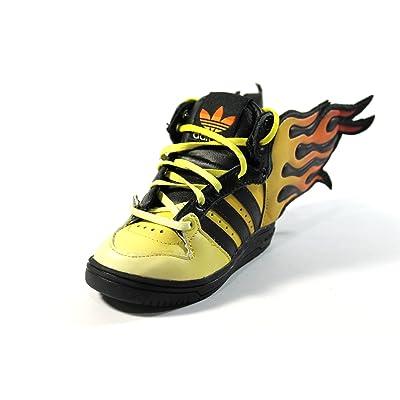 Adidas Toddler JS Flames I Black/Orange Running Fire Shoes D65987 size 4k
