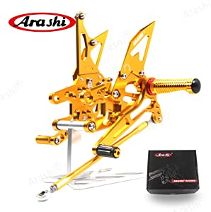 Arashi(Version 2.0) Adjustable Rearsets for KAWASAKI NINJA ZX10R ZX1000 2004 2005 Motorcycle Accessories Foot Pegs Footrests Rear Set ZX-10R Gold