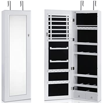 Lifewit Lockable Full Length Mirrored Jewelry Cabinet, Makeup Organizer  With LED Light