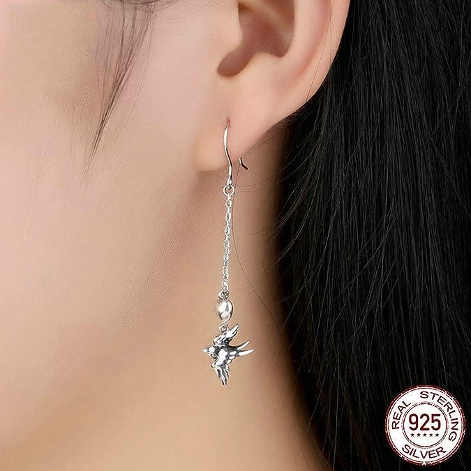 Aokarry 925 Sterling Silver Swallow Bird Heart Dangle Earrings for Women Girls Silver