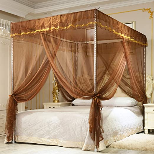 4 Opening Twin, Pink Bedroom Decoration Nattey 4 Corners Post Canopy Bed Curtain for Girls Boys /& Adults