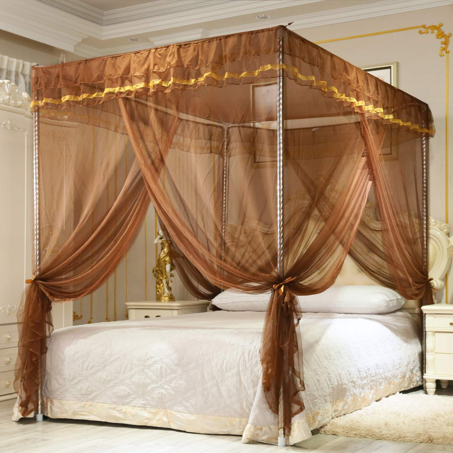 Nattey Simple 4 Corners Post Canopy Bed Curtain for Girls Boys & Adults Gift - 4 Opening - Bedroom Decoration (California King, Brown)