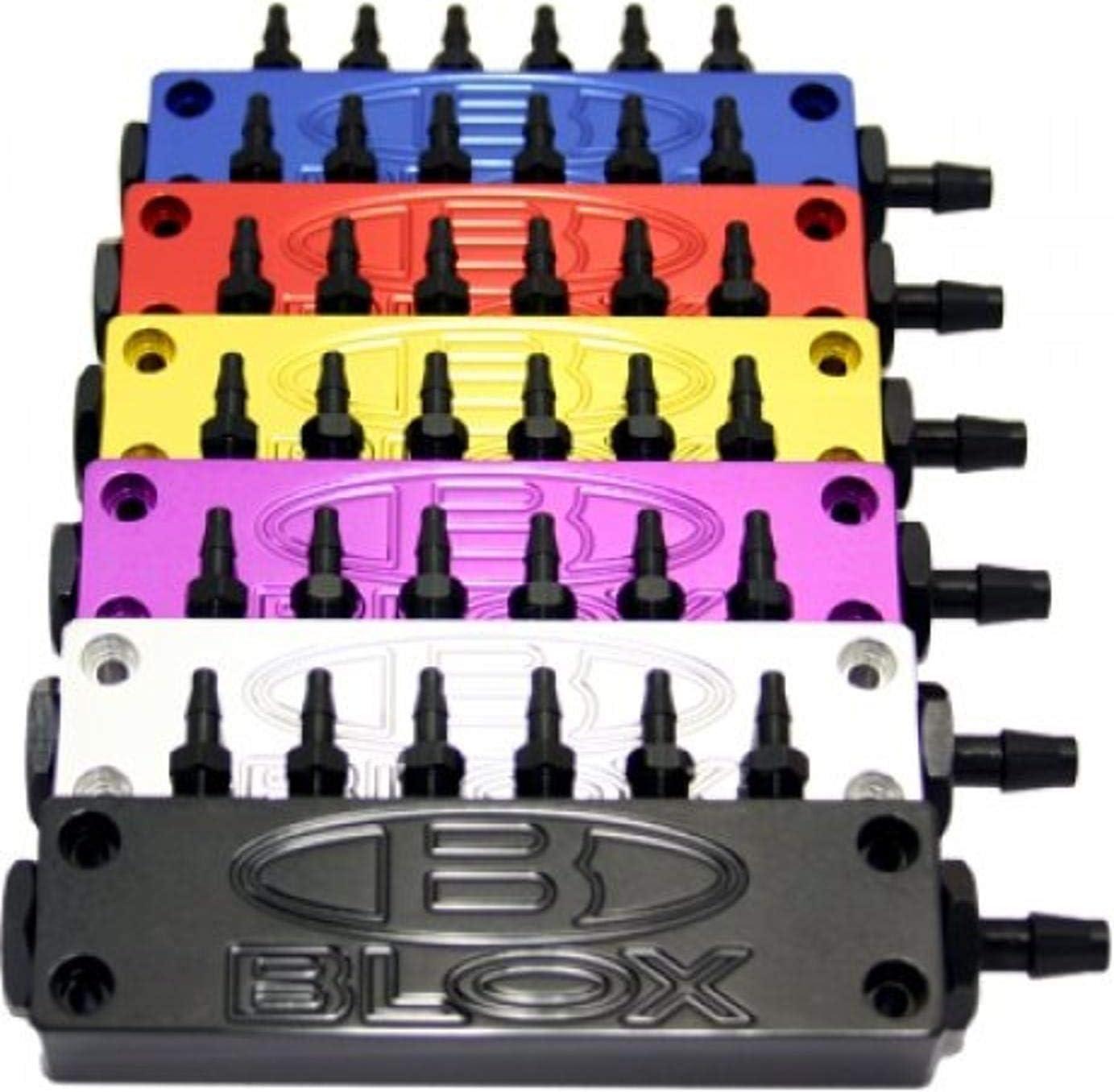 Surface-mount Vacuum Block - 6-Port; Billet Aluminum - Purple