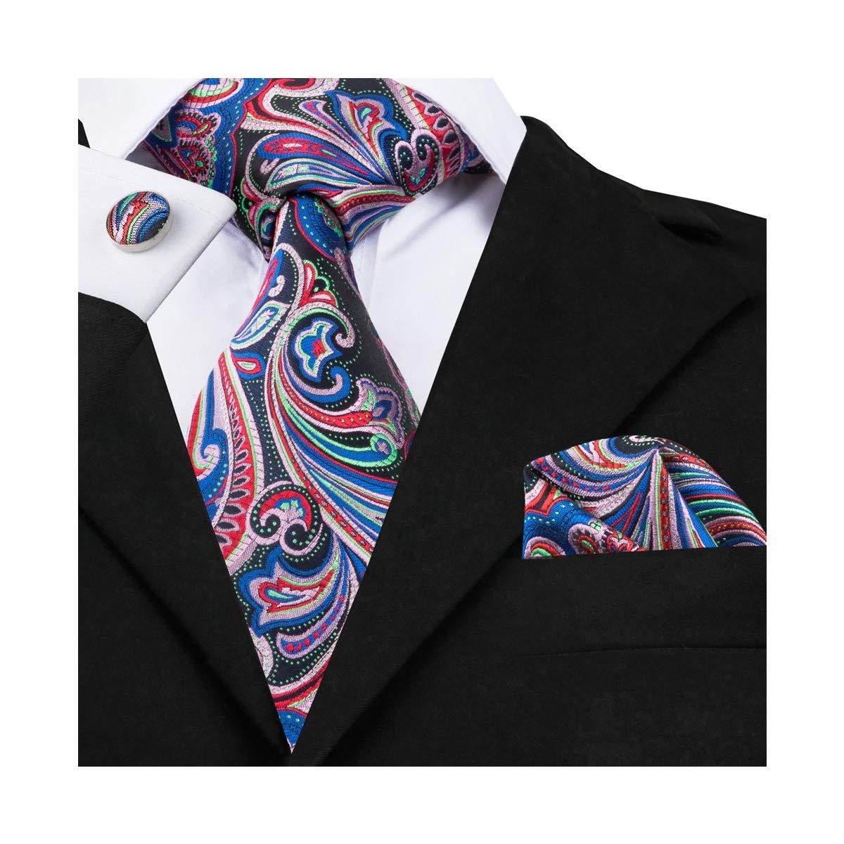 DiBanGu Paisley Woven Tie Handkerchief Classic Men's Necktie Cufflinks Tie Clip Set QVN-1692