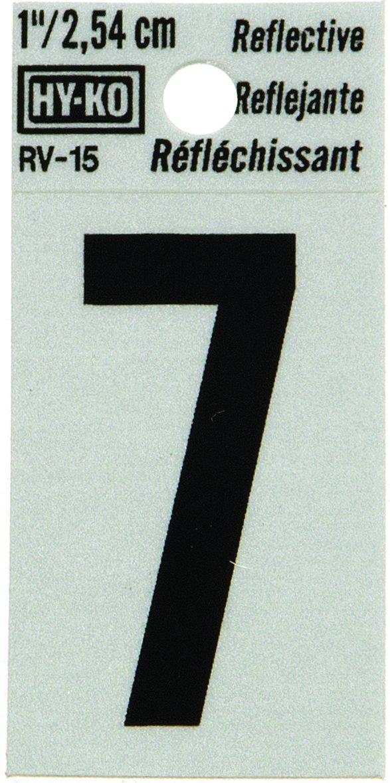 "Hy-Ko RV-15/7 1.25"" Black Reflective #7 House Number"