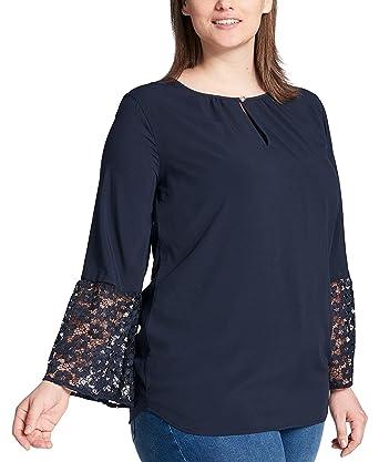 1e1296520 Amazon.com: Tommy Hilfiger Women's Plus Size Lace-Cuff Top (Sky ...