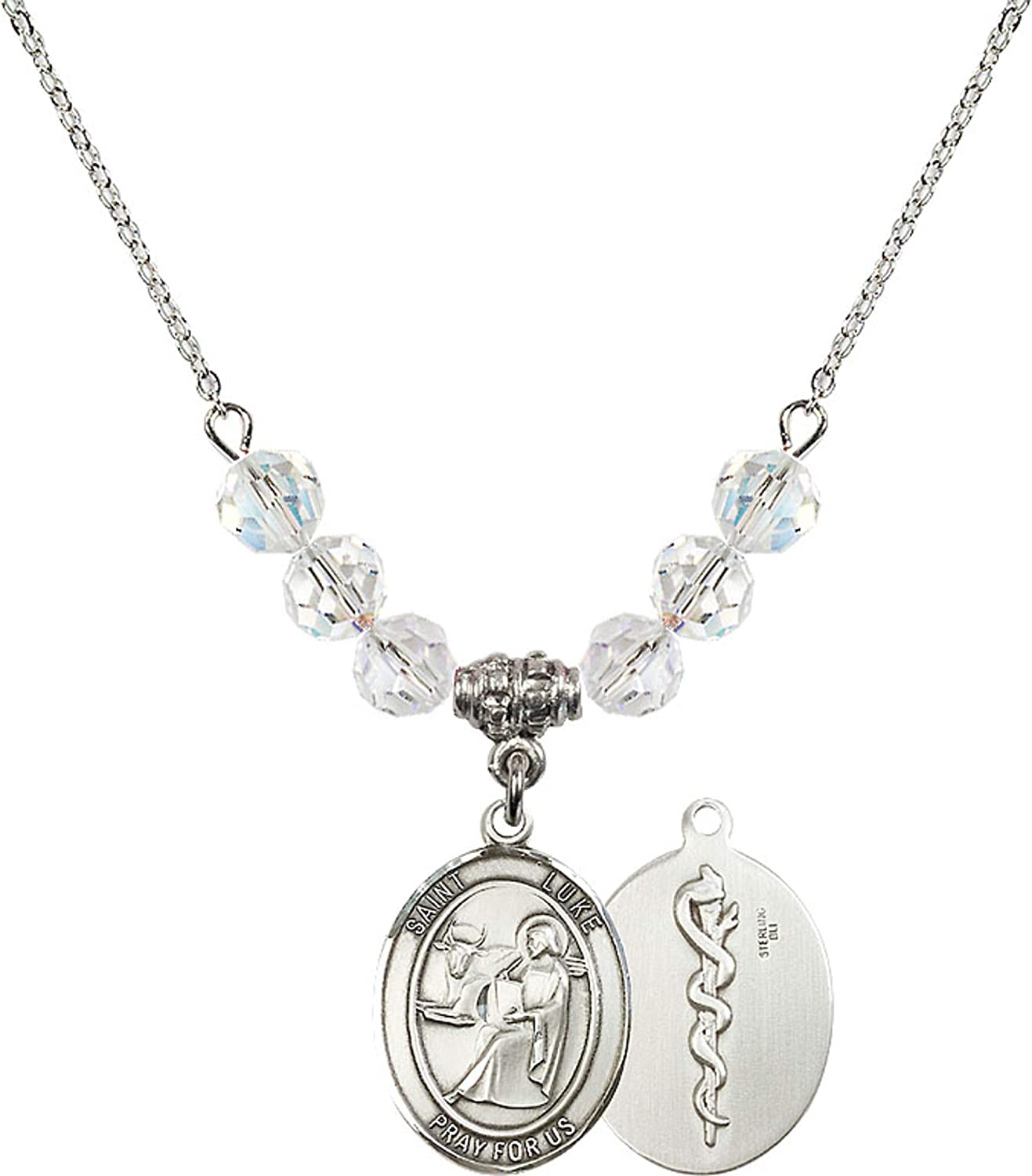 Bonyak Jewelry 18 Inch Rhodium Plated Necklace w// 6mm White April Birth Month Stone Beads and Saint Luke The Apostle//Doctor Charm