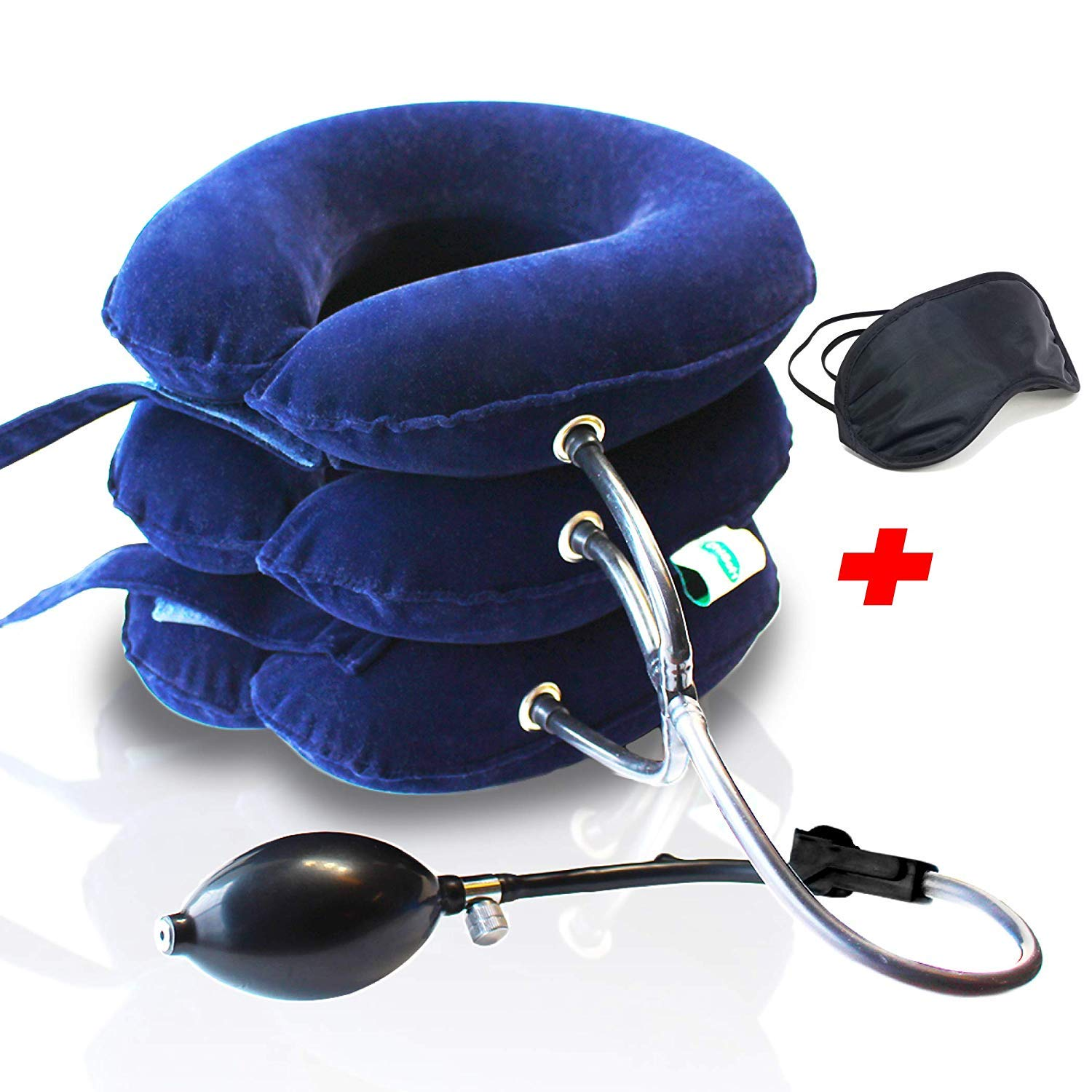 Neck Traction Device No1 Doctors Recommended CHISOFT Unique Safety Detachable Connection, (2nd Edition) Cervical Neck Stretcher + Eye Mask, Corrects Posture, Helps Neck Pain