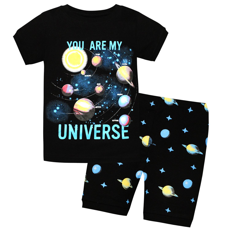AMGLISE Kids Little Boys Tyrannosaurus Rex Short Pajamas 2 Piece Set 100% Cotton Dinosaur Sleepwear Black 12M 7Years