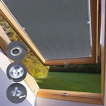 Kinlo Store Pour Fenêtre De Toit 96 X 93 Cm Gris Velux Rideau