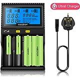 MiBOXER C4 Universal Smart Battery Charger 4 Slot LCD Display 18650 AA Charger for Li-ion Ni-MH Ni-Cd AA AAA AAAA C 22650 18490 18350 RCR123 Rechargeable battery