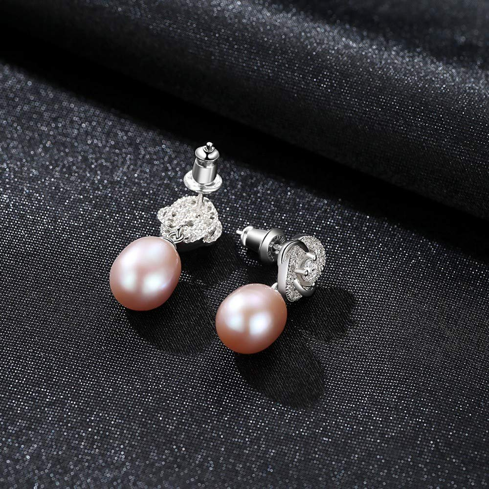 THTHT Vintage Flower Stud Earrings 925 Silver Tiny Cute White Pink Purple Natural Pearl Fashion Design for Girl Love Gift,White