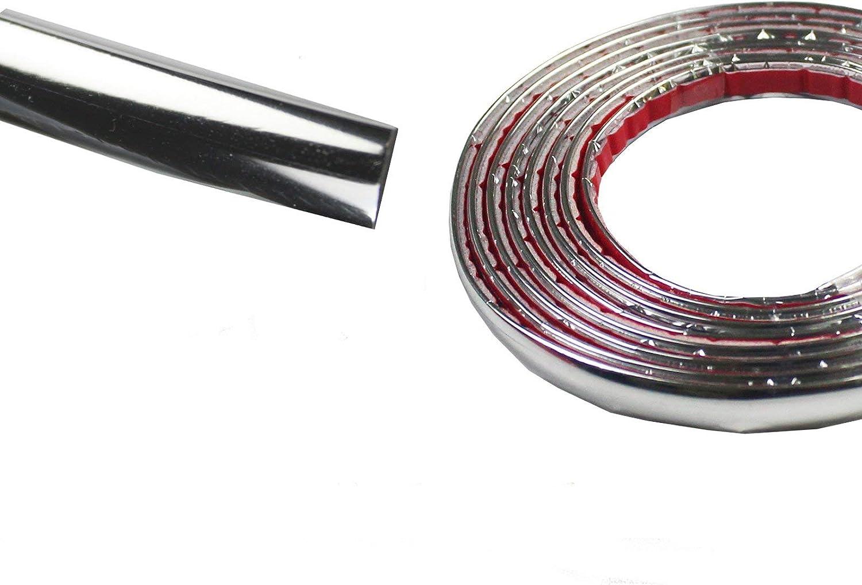 8mm Moulding Chrome Car Trim Body Side DIY Anti-Rub DustProof Durable Bodys Bumper Protect Sticker Silver 32Ft