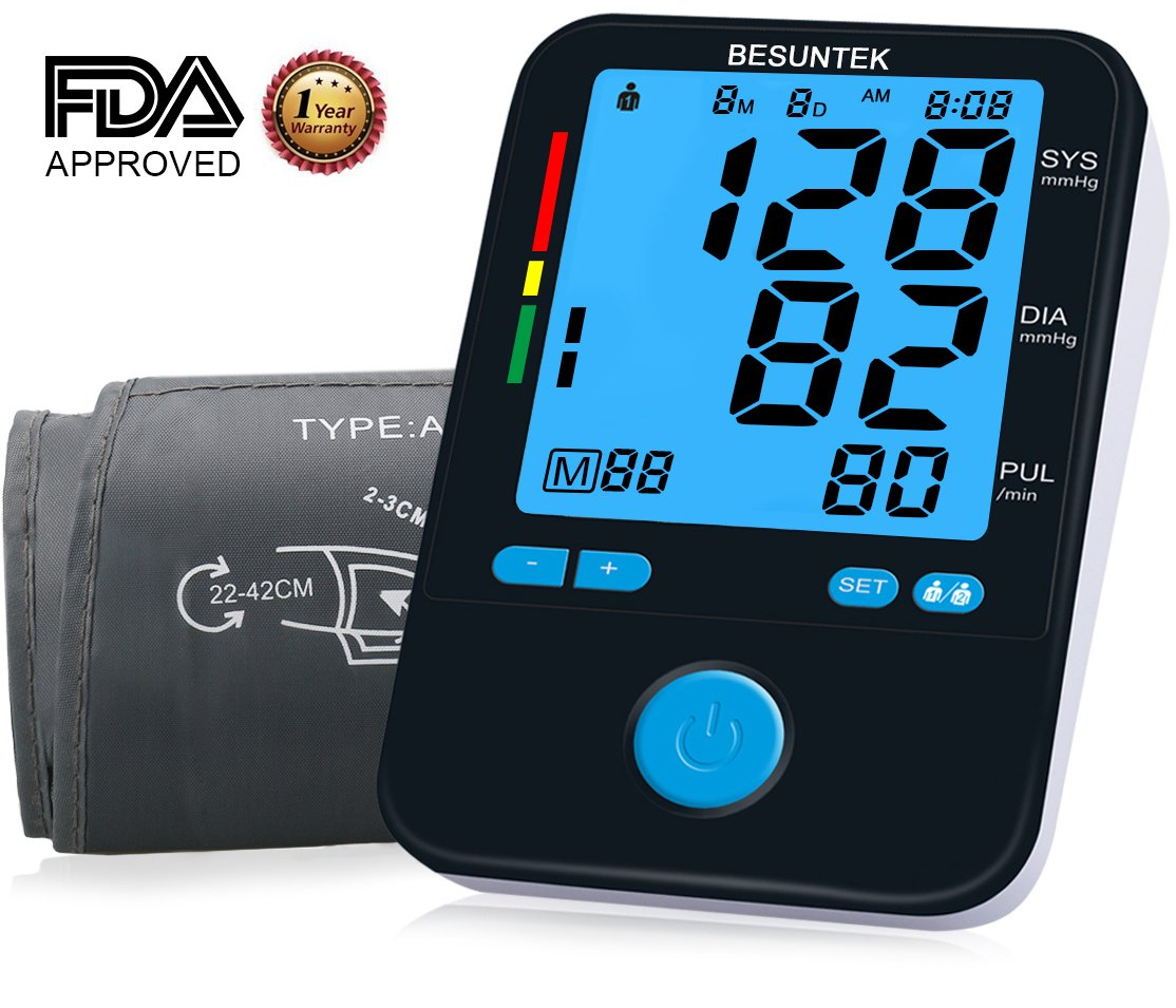 Blood Pressure Monitor Upper Arm with Large Blood Pressure Cuff 8.7-16.5 Inches and Backlit LCD Display FDA Approved Black