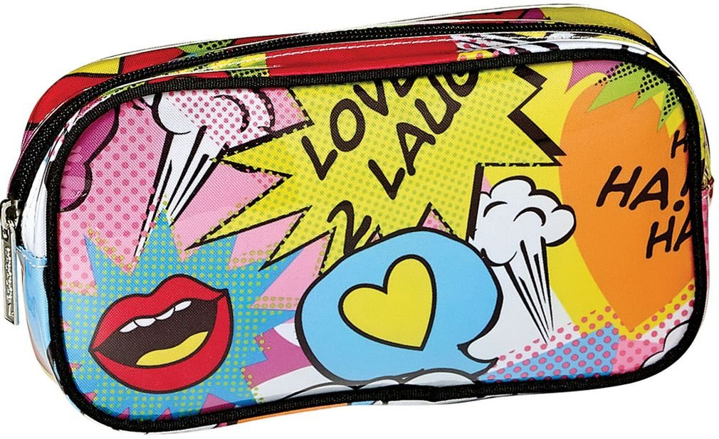 iscream 'Love 2 Laugh' 8.5'' x 4.5'' Bold Print Zippered Cosmetic Bag