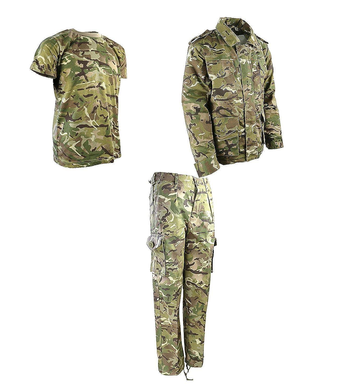 Kinder Camo Coat, T-Shirt und Hosen-Geschenk-Set Militär Kinder Armee (Set 23)