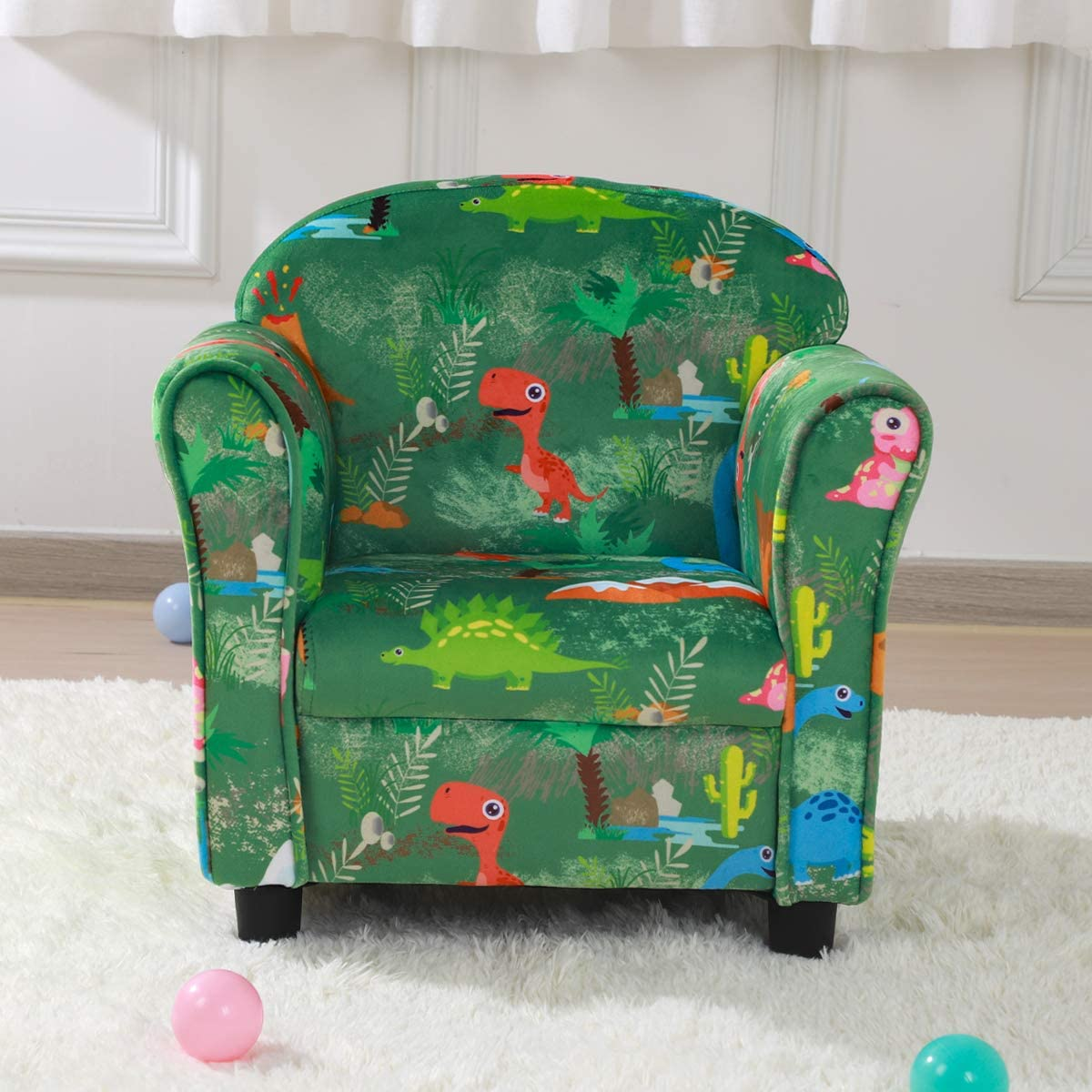 Velvet Fabric Kid Upholstered Chair,Ideal Kid Bedroom Furniture Kid Sofa Chair Green
