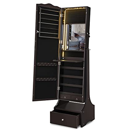 SONGMICS LED Jewelry Cabinet Lockable Jewelry Armoire With Full Length  Mirror, Makeup Tray And Large