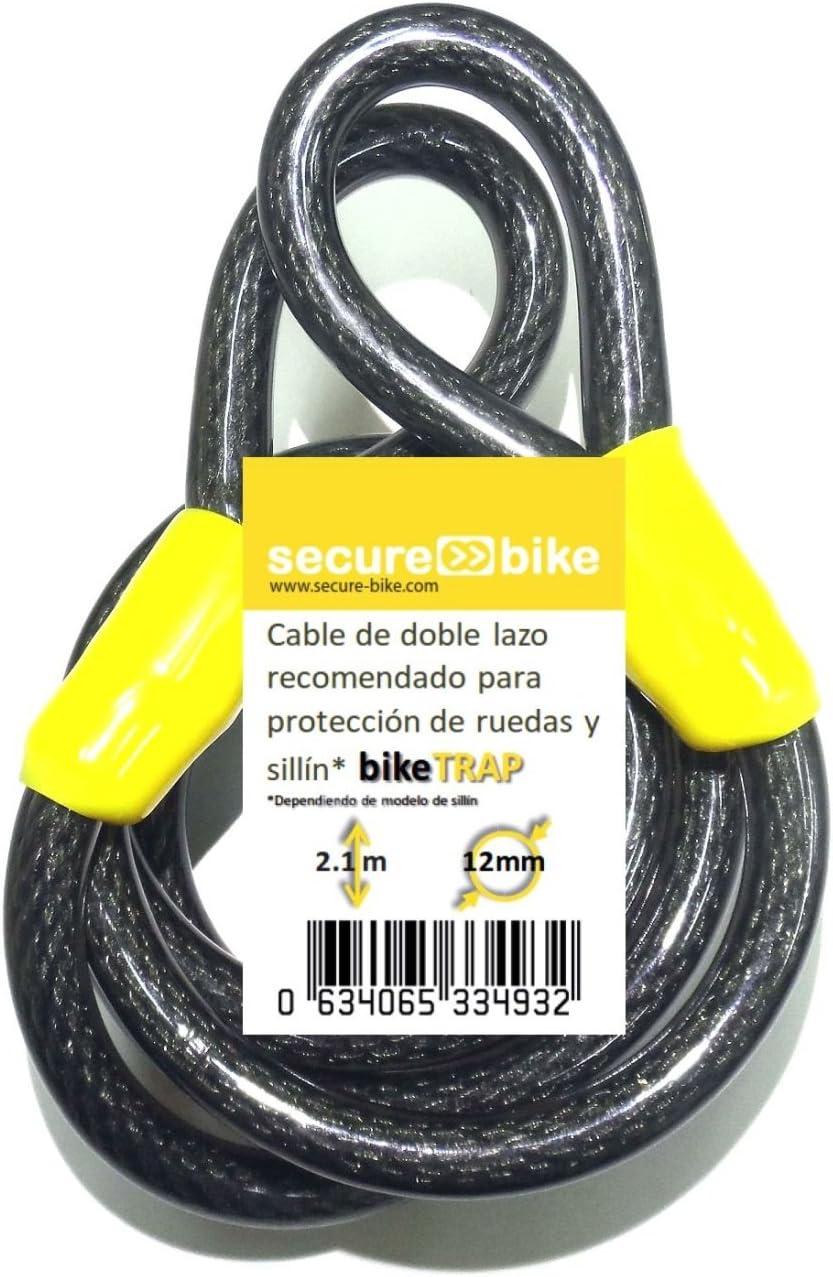 Antirrobo bicicleta: Cable 2,1m x 12mm de acero de doble lazo de ...