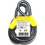 Antirrobo bicicleta: Cable 2,1m x 12mm de acero de doble lazo de alta seguridad para soporte antirrobo bikeTRAP