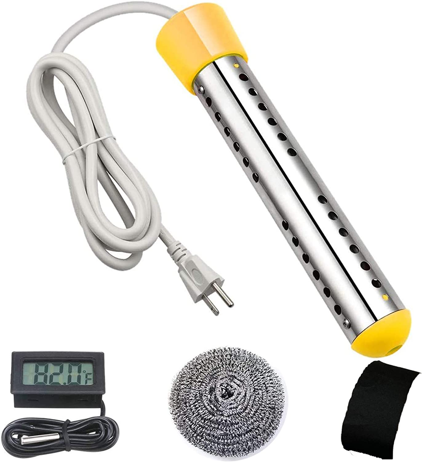 Immersion Water Heater, Electric Submersible Water Heater with Stainless Steel Guard Cover and Digital LCD Thermometer, Portable Bucket Heater To Heat 5 Gallons Of Water In Minutes(Yellow)