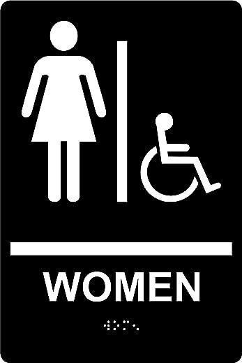 """علامة مرحاض للنساء متوافقة مع ADA مع بريل، حروف مرتفعة وشريط مزدوج الجوانب، 6 """"× 9""""، SignOptima (أسود)"""