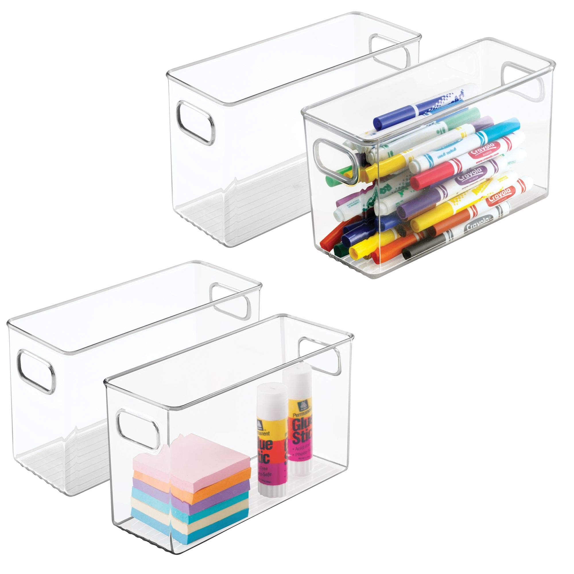 mDesign Office Supplies Desk Organizer Bin for Pens, Pencils, Markers, Highlighters, Tape - Pack of 4, 10'' x 4'' x 6'', Clear by mDesign (Image #1)