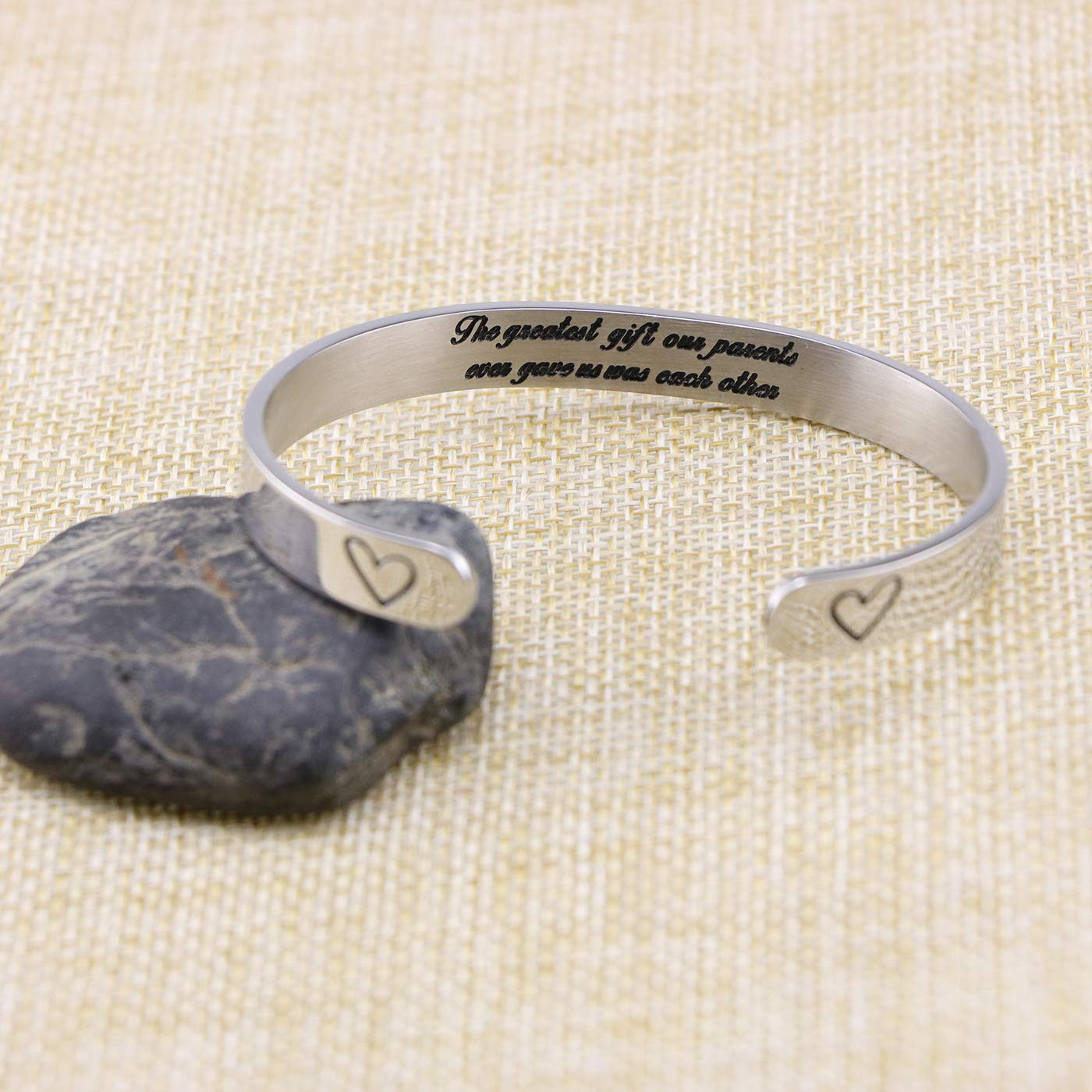 Brother Sister Gift for Mom Bracelet Mothers Day Jewelry Stainless Steel Christmas Relationship Jewelry Bangle Personalized Present