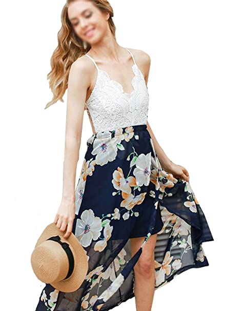 Monique Women Floral Print Patchwork Lace Maxi Long Dress Backless  Spaghetti Strap Dress Summer Dresses for b0f730b1f