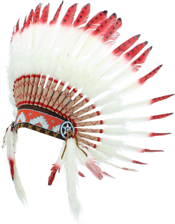 Adulti Uomo Donna Bianco Rosso Nero in Piuma Costume Indiano Headress