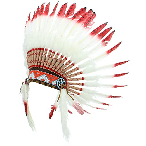 Adornos Indio Nativo Americano Chief Blanco Plumas Rojo Consejos puntos de color negro