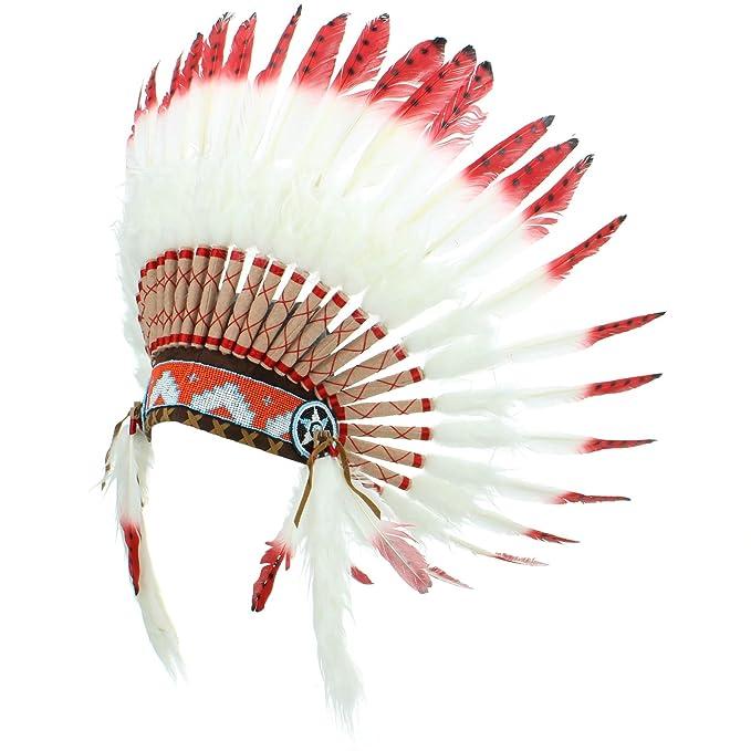 Coiffe De Chef Indien Américain Avec Des Plumes Blanches Des Pointes Rouges Et Des Points Noirs