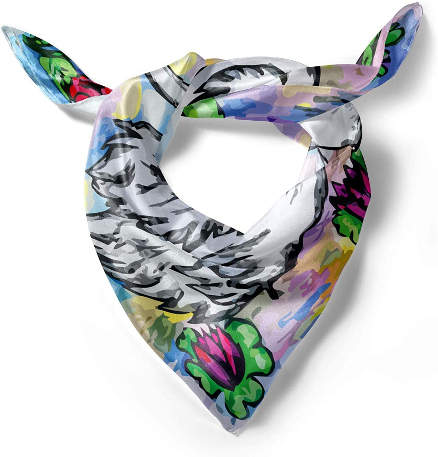Hair Wrap 2 White Swans in Lake Ambesonne Floral Head Scarf