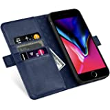 ZOVERR iPhone8 / 7 / 6 / 6s 手帳型 マグネット式 磁気吸着 本革なカバー アイフォン6/7/8全面保護 スタンド機能 カード収納 耐汚れ 耐衝撃 ギフトボックス(4.7インチ用 ネイビー)Navy Blue