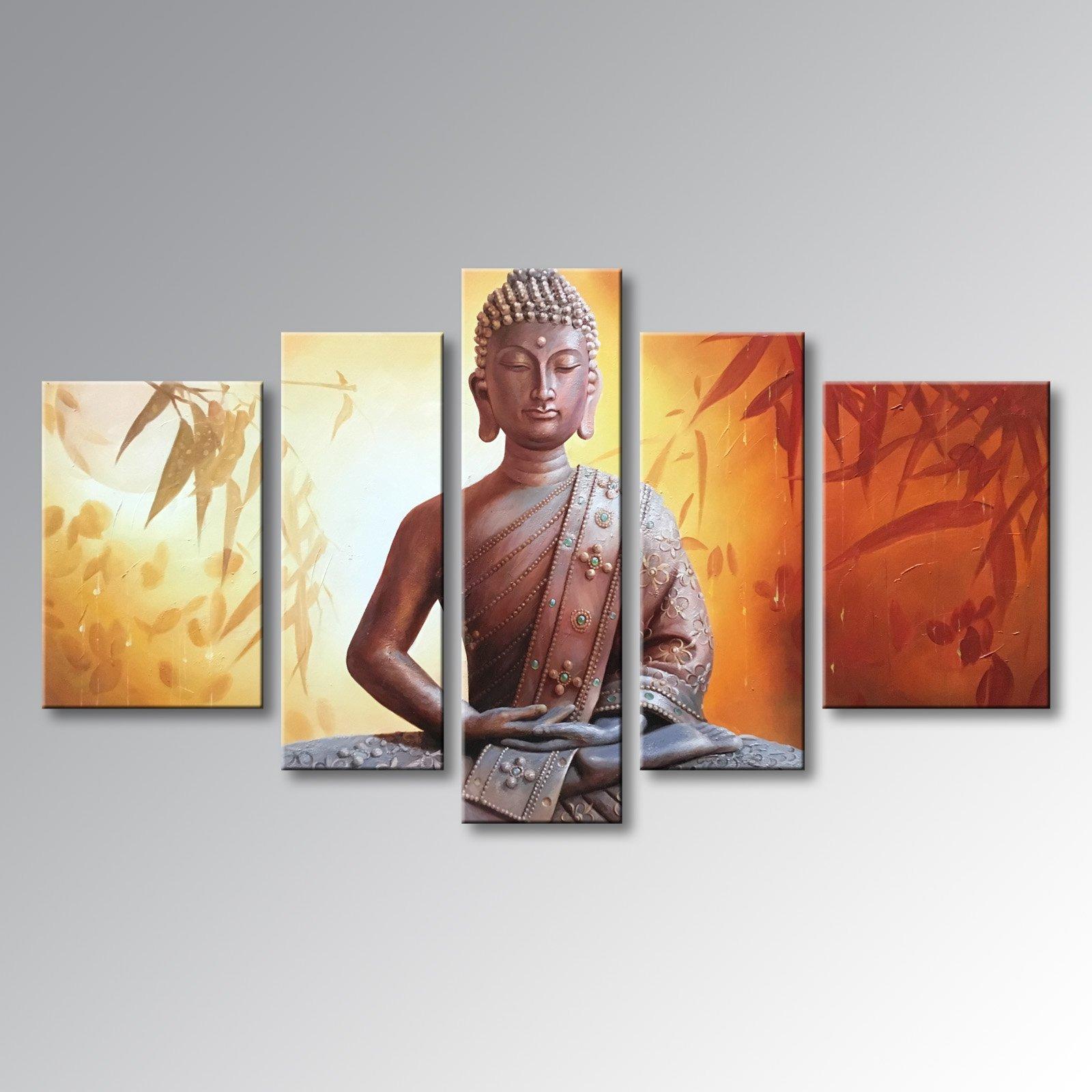 Winpeak Art Framed Handmade Buddha Wall Art on Canvas Abstract Oil Painting Modern Contemporary Decor Stretched Ready to Hang (58''W x 32''H (14''x20'' x2, 10''x28'' x2, 10''x32'' x1))