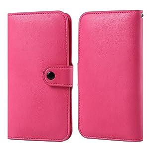 Sumaclife Slim Fit Wallet Carrying Pouch Case Sleeve for BLU Dash L5 L4 L3 / Studio G Mini/Studio J1 / Grand Mini/Advance A4 / Vivo 5 Mini/Tank Xtreme 4.0 2.4 (Magenta)