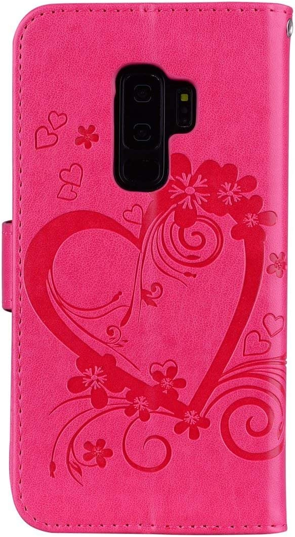 Herbests Compatible with Samsung Galaxy S9 Plus Wallet Case Embossed Love Heart Butterfly 3D Design PU Leather Magnetic Flip Protective Case with Kickstand Card Slots Wrist Strap,Blue