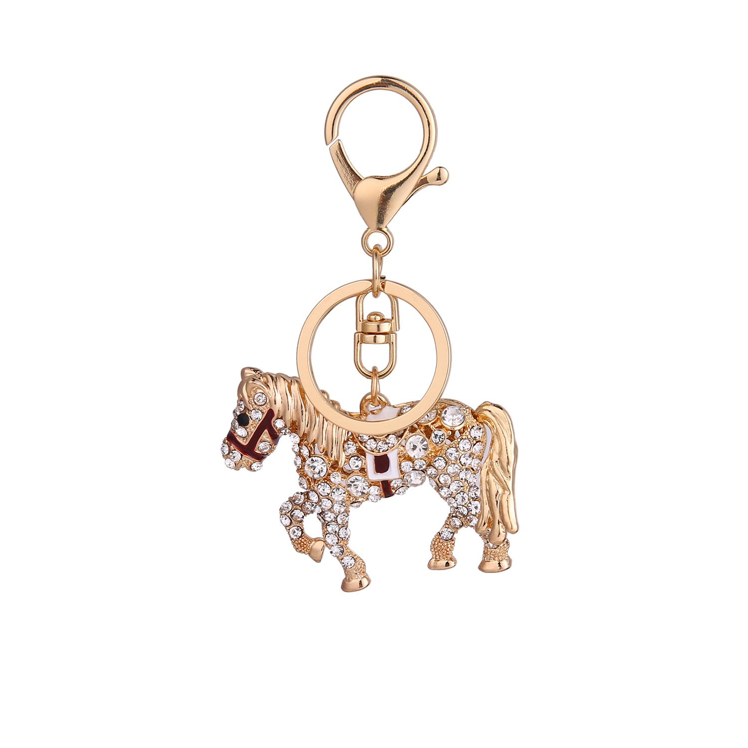 DYbaby Bling Bling Crystal Keychain Lovely Handbag Decoration Car Key Decoration for Womens and Girls (Horse)