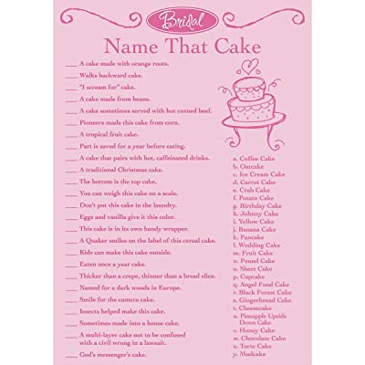 Darice Victoria Lynn Bridal Shower Game Pad - Name That Cake: Arts, Crafts & Sewing
