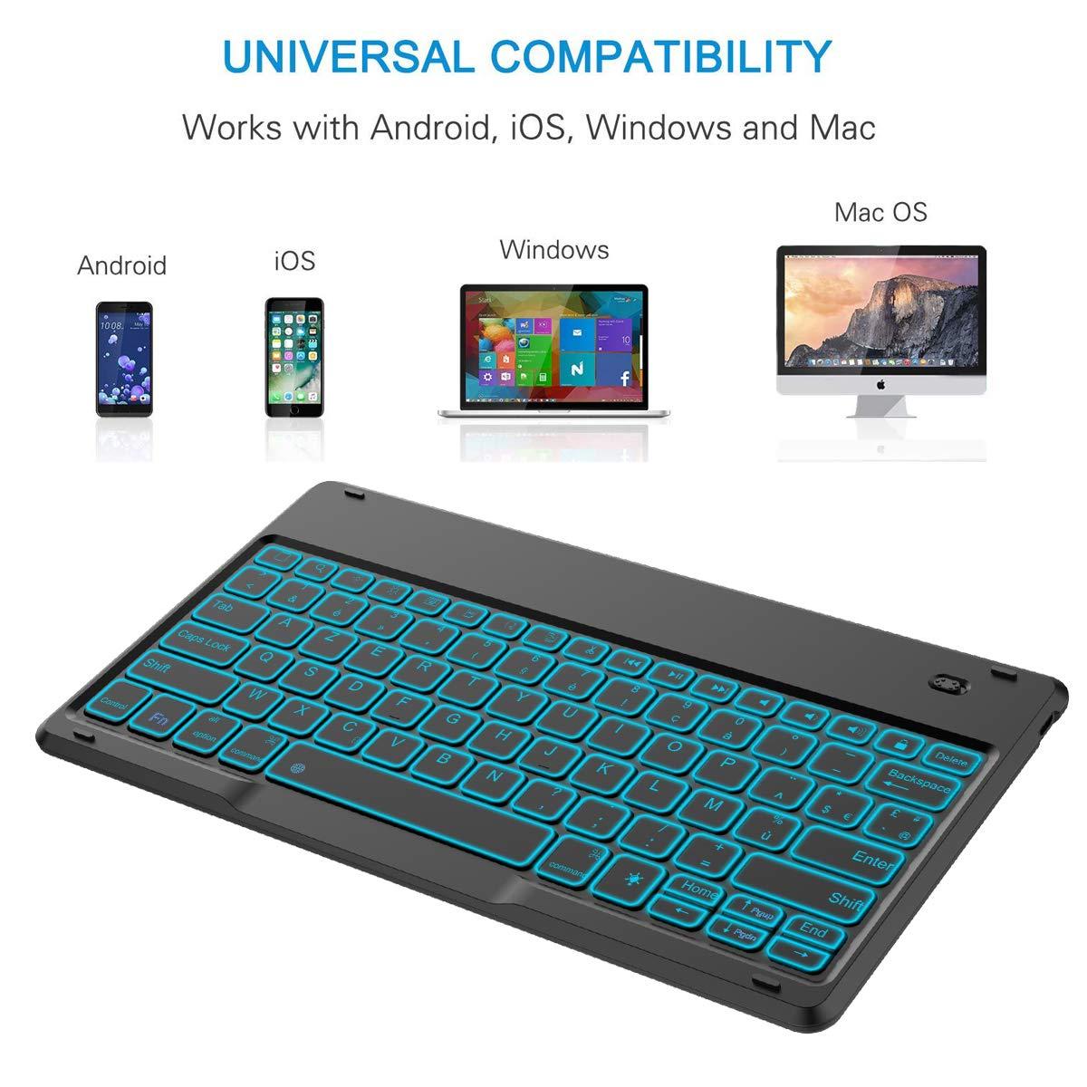 Wendapai Universel 12,9 Pouces Clavier fran/çais AZERTY sans Fil pour Windows PC//Tablette et t/él/éphone//Tablette Android Compatible Bluetooth