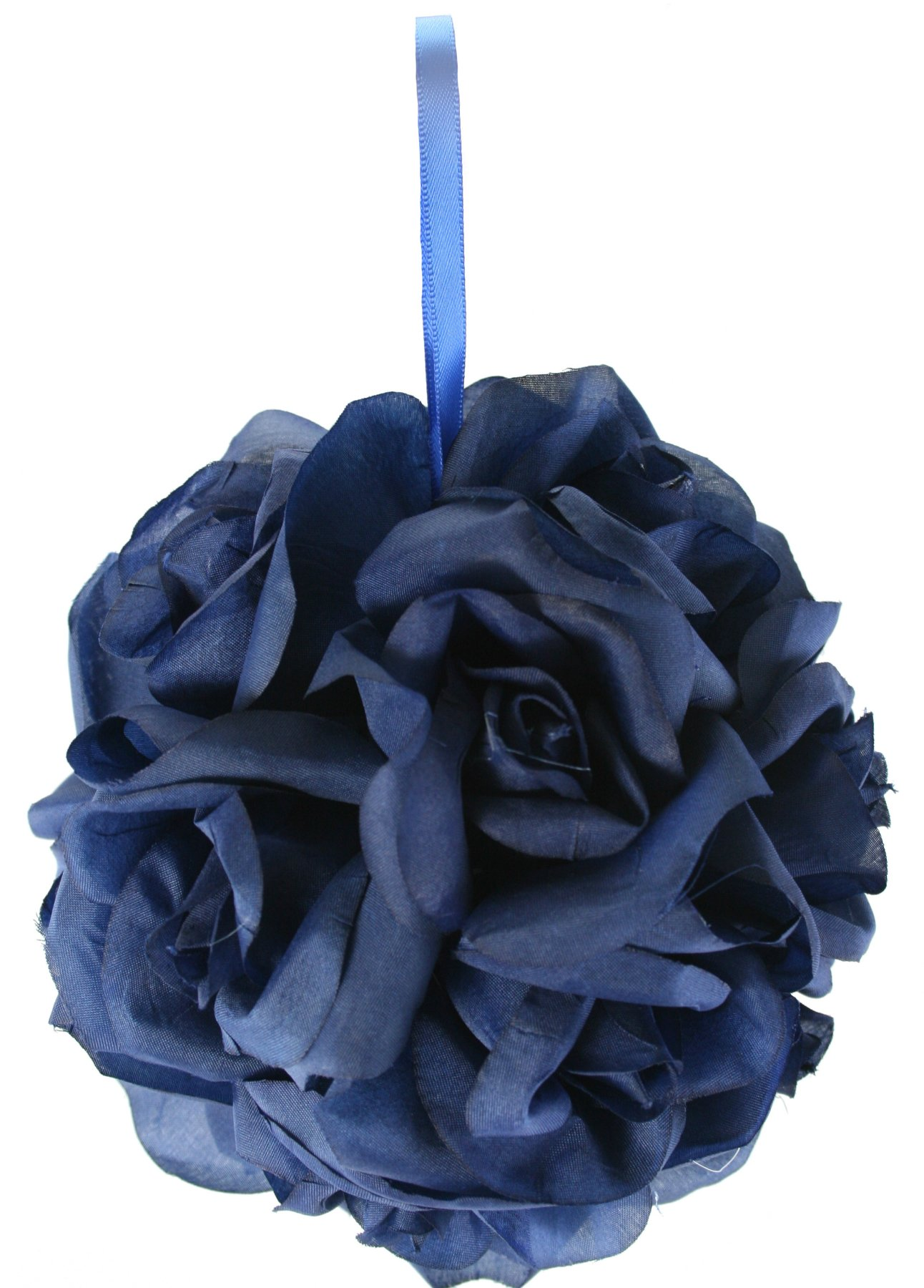 Garden-Rose-Kissing-Ball-Navy-Blue-6-inch-Pomander
