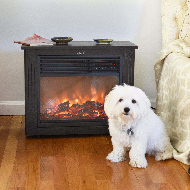 Amazon.com: Ivation 5,100 BTU Infrared Quartz Fireplace U2013 1500W Electric  Heater With Realistic Flame, Digital Thermostat, Remote Control, Timer U0026  Safety ...