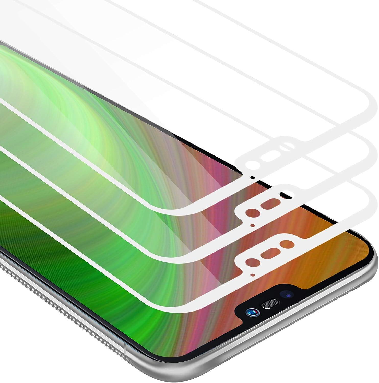 Cadorabo 3X Película Protectora para Huawei P20 Lite en Transparente con Blanco - Paquete de 3 Pantalla de Vidrio Templado Cobertura Completa (Tempered) Compatible 3D con Dureza 9H