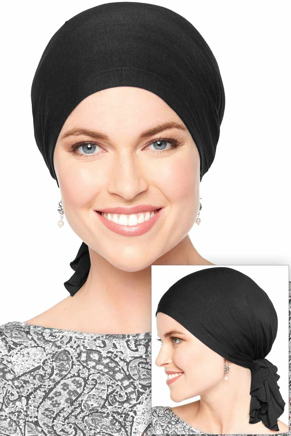 Slip-On Solid Slinky Pre Tied Head Scarf - Scarves for Women with Chemo Luxury Bamboo - Black