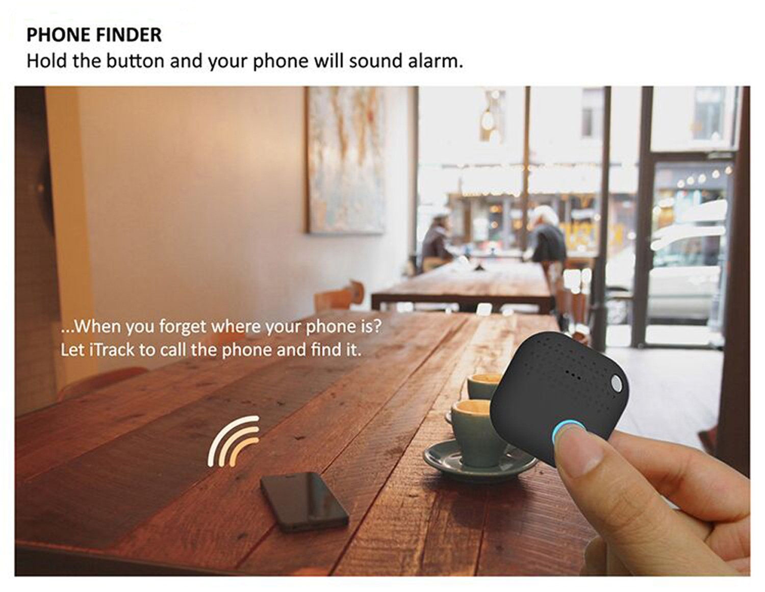 Key Finder,Bluetooth Key Finder Cell Phone Finder Wallet Tracker Device Luggage Locator Anything Finder Replaceable Battery Smart Anti Lost Alarm Compatible iOS Android APP by BCKAKQA