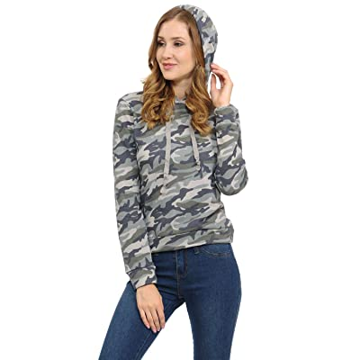 ACTIVE BASIC LoveInStyle Long Sleeve Camo Printed French Terry Hoodie Top