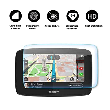RUIYA Protector de pantalla de vidrio templado para TomTom GO 520 5200 GPS Sistema de navegación