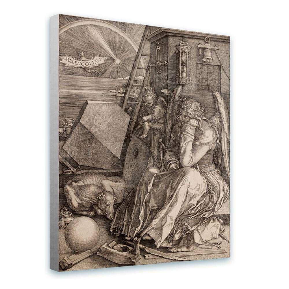 Alonline Art - Melencolia I Albrecht Durer Framed Stretched Canvas (100% Cotton) Gallery Wrapped - Ready to Hang | 28''x35'' - 71x89cm | Framed Decor Framed Artwork for Bedroom for Living Room